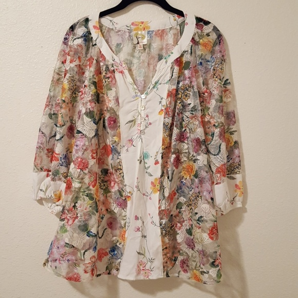 ee7bf1030057b9 Anthropologie Tops - Anthropologie Fig & Flower Mesh Lace Blouse